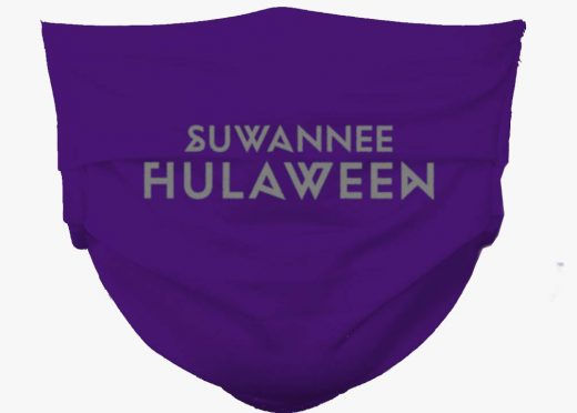 Suwannee Hulaween logo mask purple on gray